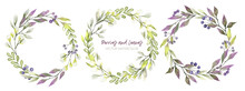 Watercolor Greenery Wreath, Purple And Green Tints, Berries