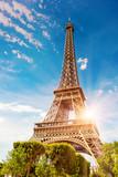 Fototapeta Fototapety z wieżą Eiffla - The Eiffel Tower in Paris on a beautiful sunny summer day at sunset