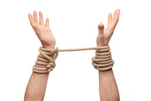 Hands Tied With Rope - Freedom...