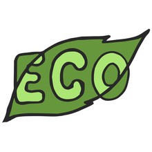 Linear Style Letters Logo. Eco Text Badge With Green Leaf.