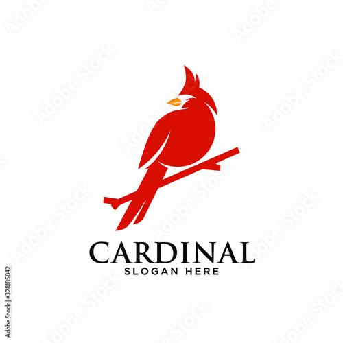 Stampa su Tela Cardinal Bird icon silhouette simple minimalist modern logo design template