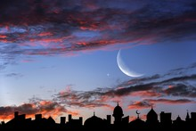 Crescent Moon With Beautiful S...