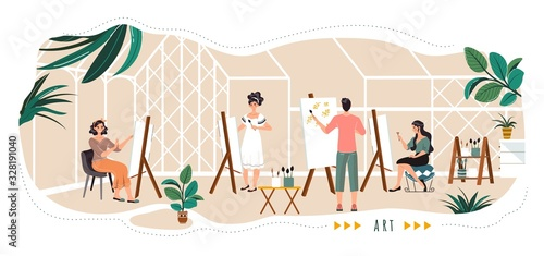 Foto People painting in art studio, cartoon characters, vector illustration