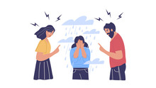 Conflict With Parents, Father And Mother Scolding Teenager Vector. Isolated Illustration