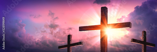 Banner Of Three Wooden Crosses With Sunrise And Clouds Background - Death And Re Tablou Canvas