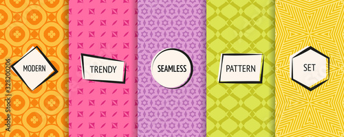 Vector geometric seamless patterns set. Bright colorful background swatches with simple modern stickers. Cute funny childish style. Abstract textures collection. Stylish ornaments. Pretty design
