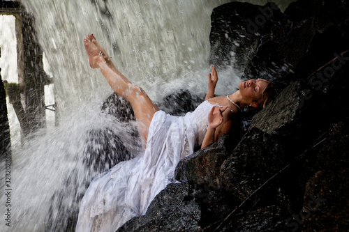 Young Bride On A River Wallpaper Mural