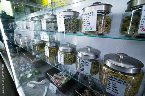 Fotomural Selection of medical recreational cannabis at a legal retail store