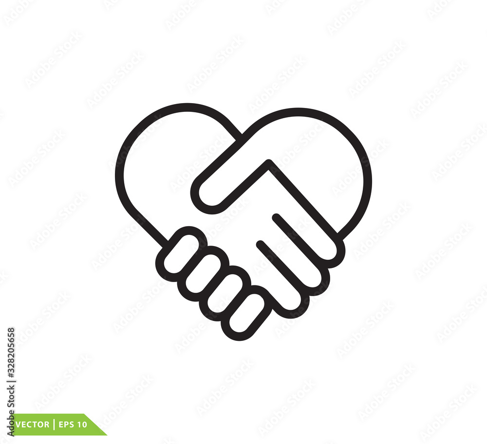 Fototapeta Hand shake and love icon vector logo design template