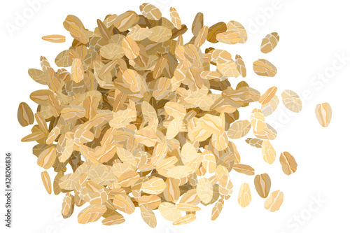 Rolled oats pile on white background vector illustration #328206836