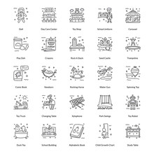 Pack Of Toys Doodle Icons