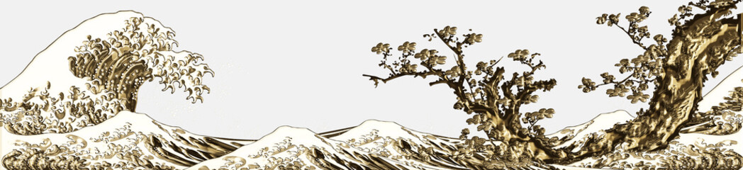 Fototapeta Orientalny 神奈川沖浪裏&桜 金ロングバージョン