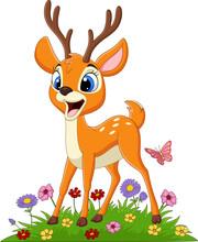 Cartoon Deer In The Grass
