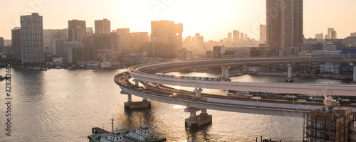Yurikamome Train on Rainbow Bridge and Tokyo skyline at sunset 夕暮れのレインボーブリッジを走るゆりかもめと東京湾岸のビル群