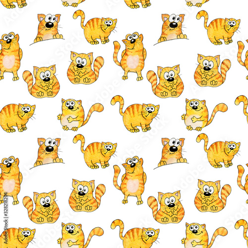 Seamless watercolor pattern. Orange, striped funny cats in cartoon style. Children's illustration. With a black stroke.