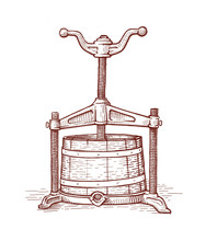 Grapes Press In Vintage Style/engraving