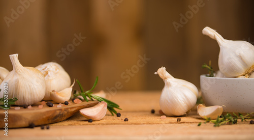 Fotografía Garlic banner, background