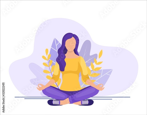 Young woman sitting in yoga lotus pose Wallpaper Mural