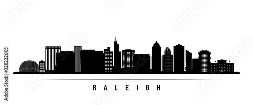 Fototapeta Raleigh  skyline horizontal banner. Black and white silhouette of Raleigh, North Carolina. Vector template for your design. obraz