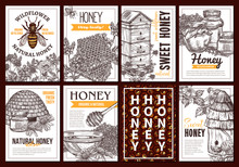 Vector Sketch Collection Of Honey Posters Or Cards. Set Of Templates And Design For Beekiping Business With Hand Drawn Illustrations