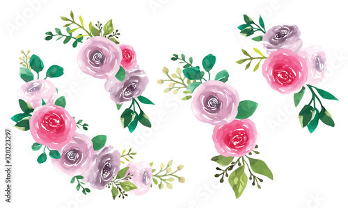 Fototapety, obrazy: set of floral watercolour posies