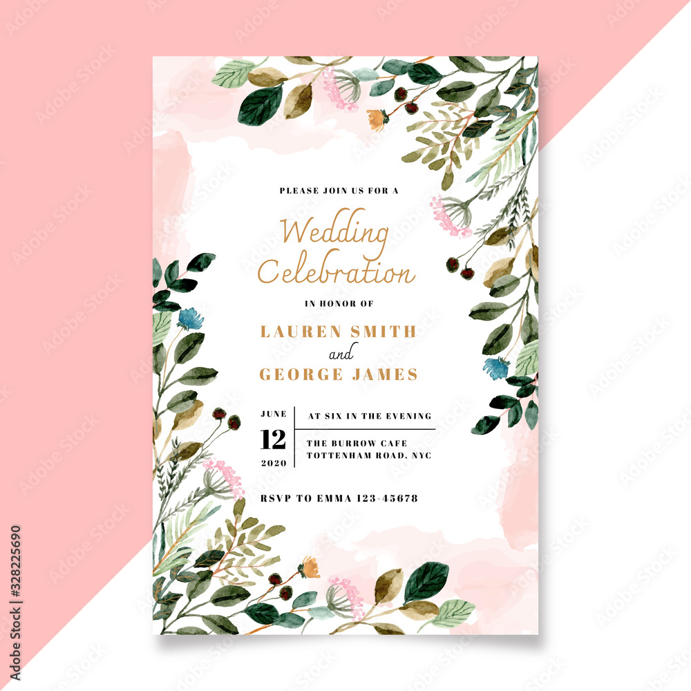 Fototapeta wedding invitation with floral and green leaves watercolor