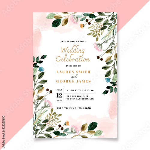 Obraz wedding invitation with floral and green leaves watercolor - fototapety do salonu