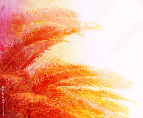 Obraz Beautiful photo of retro background with bright leaves - fototapety do salonu