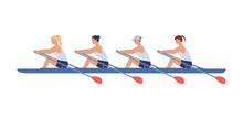 Four Female Athletes Swim In A...