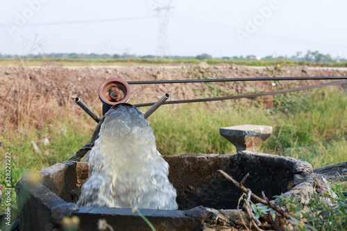 Photo Pumps, water pipelines pumped into the fields to alleviate drought