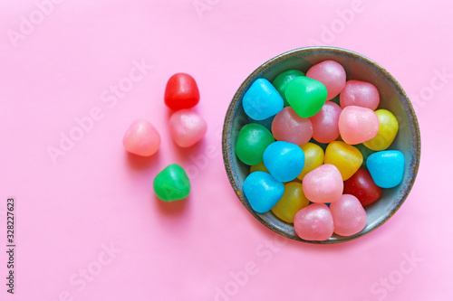 Bowl of colorful candys.