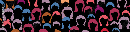 Fototapeta Crowd. Spectators group, people in parade or in theater. Flat style. Vector banner background. obraz