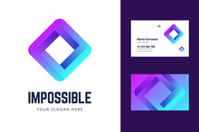 Logo And Business Card Template With An Impossible Square Sign. Vector Illustration In Modern Gradient Style.