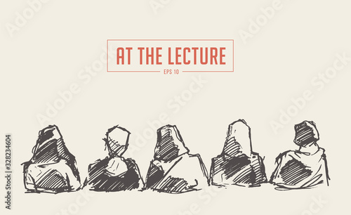 Photo People sitting audience Lecture hall vector sketch