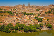 Panorama of the old historical city of Toledo and the river Rio Tajo in front. Toledo, Spain