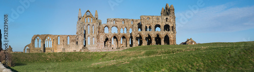 Ancient abbey ruins with gothic architecture in rural landscape Wallpaper Mural
