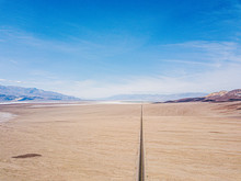 Aerial View Of Highway In The Desert Of USA California Death Valley