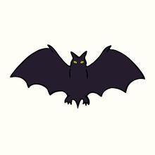 Black Bat Silhouette, Hand Drawn Doodle Gravure Vintage Style, Sketch,  Vector Illustration