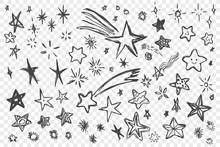 Various Hand Drawn Stars Set