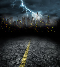 City Lights In Night And Storm...