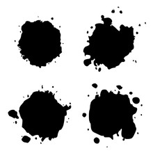 Set Black Blob On White. Ink S...