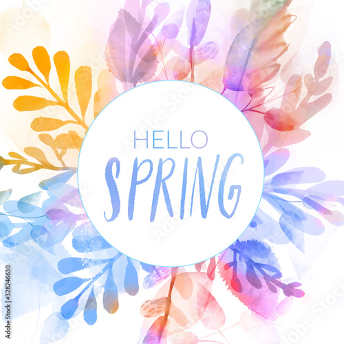 Colorful watercolor round frame with hello spring text Wallpaper Mural
