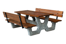 Wooden Picnic Table Isolated O...