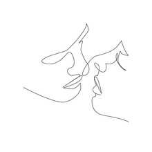 Line Art Couple. Continuous On...