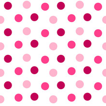Simple Polka Dots On A White Background In Different Shades Of Pink. Vector Seamless Pattern.