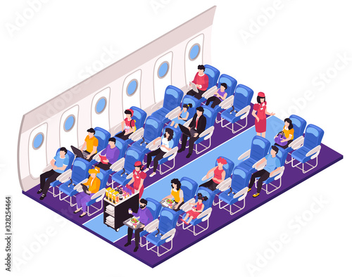 Photo Aircraft Interior Isometric Composition