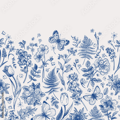 Spring flowers and butterflies. Border.
