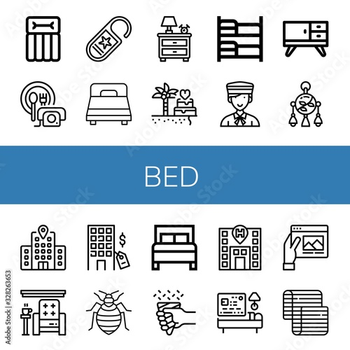 bed icon set Wallpaper Mural