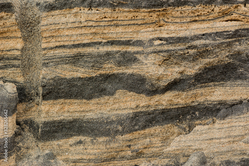 background of cross section dirty sand layers in nature beach Wallpaper Mural
