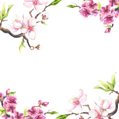 Panel Szklany Drzewa Watercolor painted white cherry blossoms on a branch. Isolated floral frame arrangement illustration.